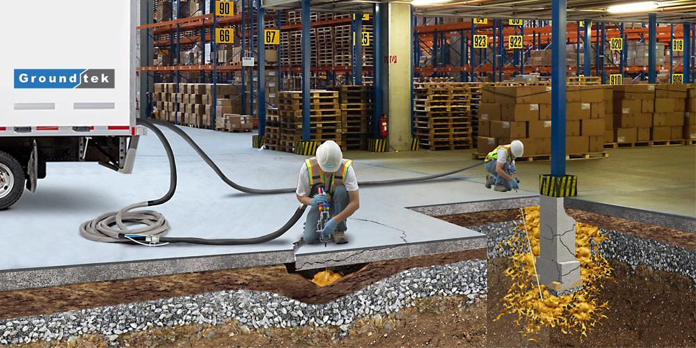 Warehouse slab lifting weak soil